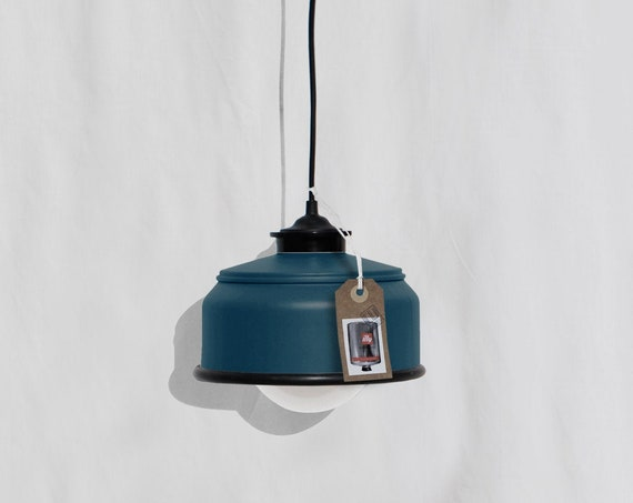 Hanging / pendant / ceiling lamp petrol blue color with black details ,... eco friendly & handmade : recycled from  coffee can !