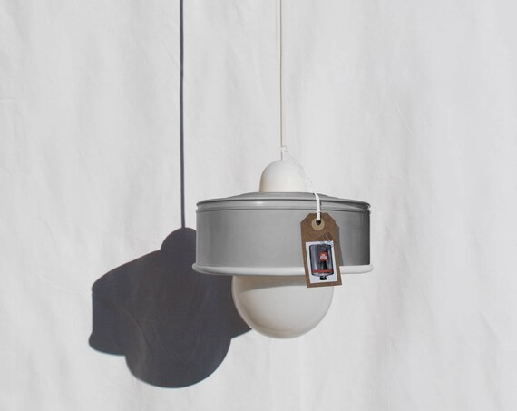 Hanging / pendant / ceiling lamp light grey ... eco-friendly handmade :recycled from  coffee can! LED light bulb included! also US and UK