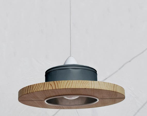 Hanging /ceiling lamp/ pendant light charcoal grey and pine wood, ECO-friendly: recyled from big coffe can. WINNER of iLLy coffee award!