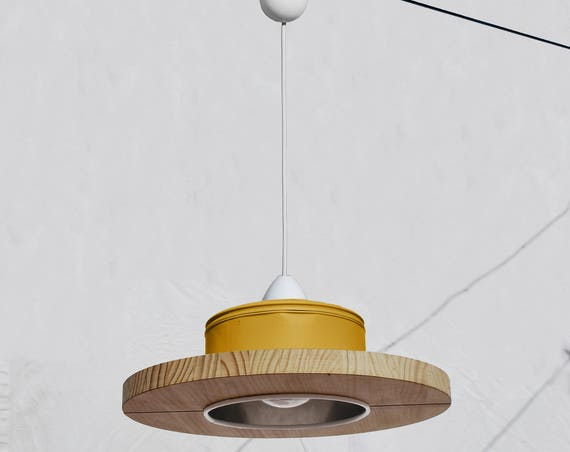 Hanging / ceiling lamp / pendant light, mustard color and pine wood, ECO-friendly: recyled from big coffe can. WINNER of iLLy coffee award!