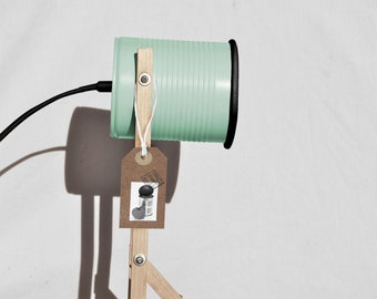 Pastel mint green & Black details desk lamp.... eco friendly:  recycled from tomato can !  UK  or US or EURO plug. Led light bulb included.