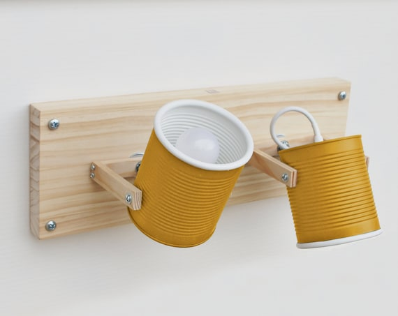 Wall or ceiling lamp/ sconce /fixture light directable, mustard yellow...eco friendly and handmade: from tomato can ! US-UK-Europe-Australia
