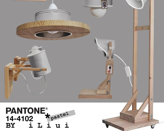 ILIUI LAMPS : light grey + white details - Eco Friendly, from tin cans