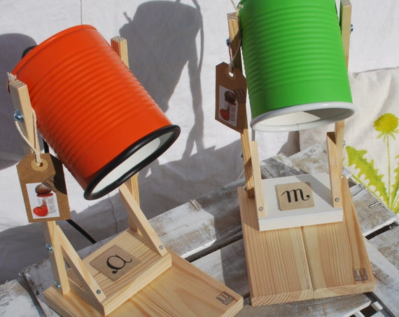 Orange or mat pea green/ Greenery  table lamp, personalized, handmade, Eco-friendly: recycled from tomato can! Europe,US or UK or Australian