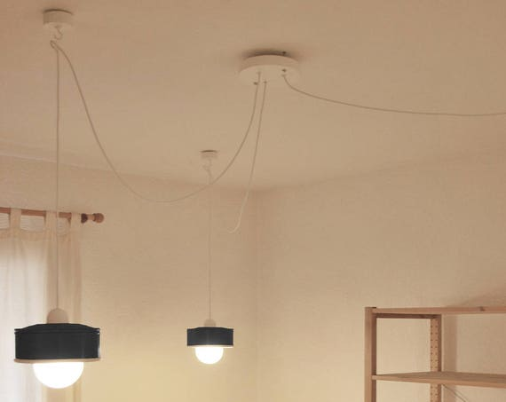 System of 3 Hanging lamps , charcoal grey + pine wood . Eco friendly-handmade: recycled from coffee can! LED light bulbs included