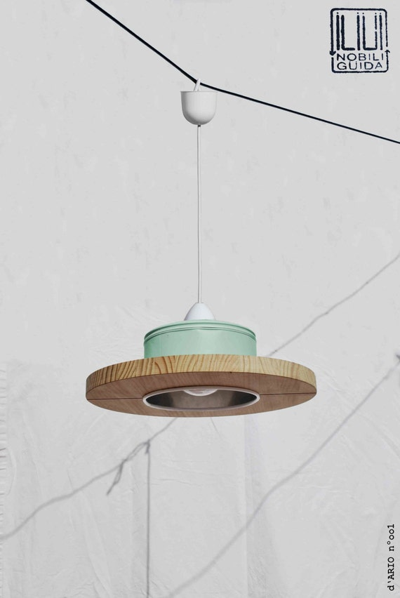 Hanging / ceiling lamp / pendant light, mint color.... ECO-friendly: recyled from big coffe can !