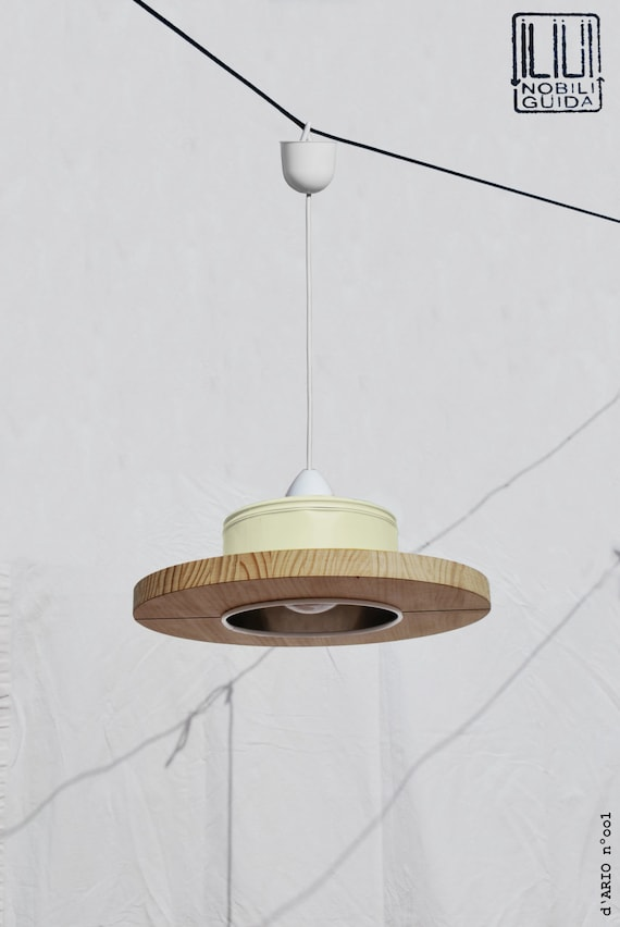 Hanging / ceiling lamp / pendant light,  pastel canary yellow color.... ECO-friendly: recyled from big coffe can ! children - room light
