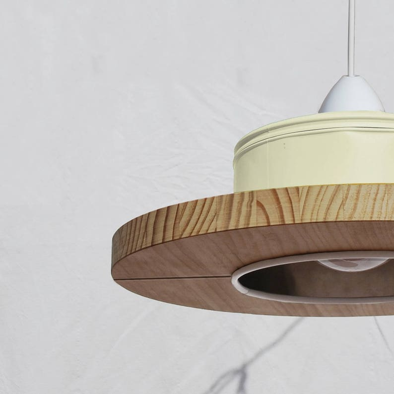 WINNER of iLLy coffee award! recyled from big coffe can Hanging ceiling lamp pendant light charcoal grey and pine wood ECO-friendly