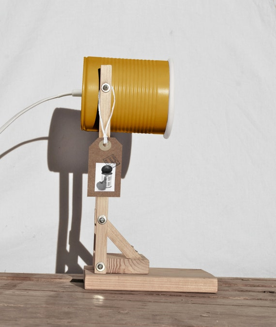 Desk lamp - nightstand lamp, mustard color ....  eco friendly: recycled from tomato can ! UK or EURO or US or Australia plug