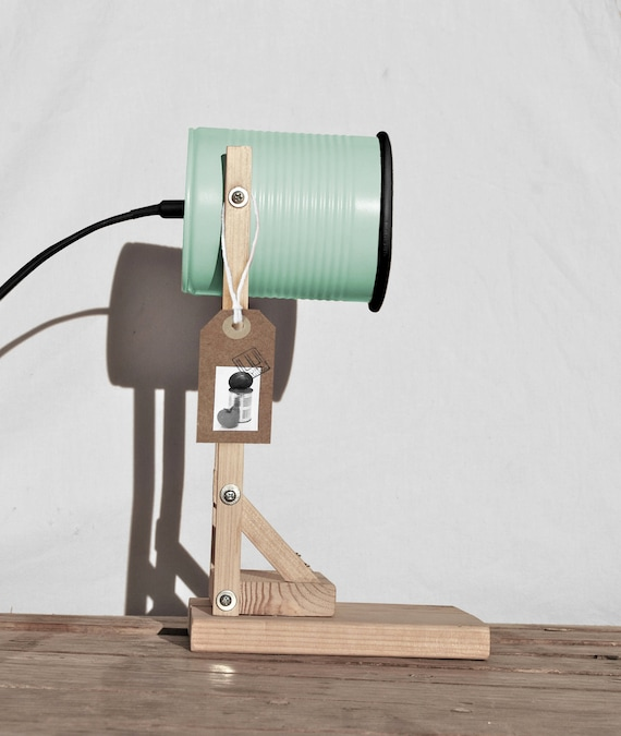 Desk lamp - nightstand lamp,  mint & black  color.... eco friendly , handmade:  recycled from tomato can ! UK or EURO or US or Australiaplug