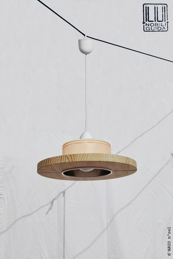 Hanging / Ceiling lamp / Pendant light,  pastel peach color.... ECO - friendly: recyled from big coffe can ! baby / girl / room