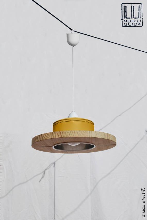 Hängende Deckenlampe Anhänger Leicht Senf Farbe Und Kiefer Holz Umweltfreundlich Recyled Aus Großen Kaffee Kann Preisträger Für Illy Kaffee
