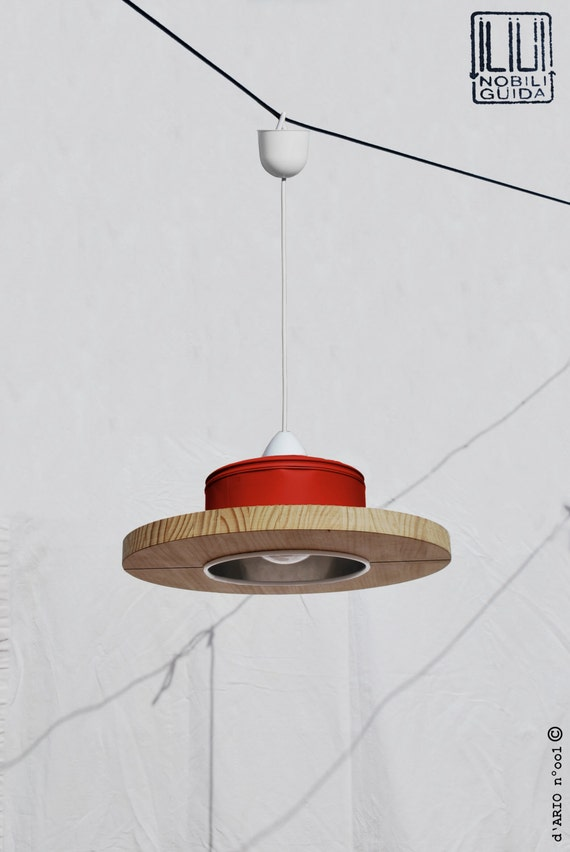 Hanging / ceiling lamp / pendant light, Sofia Red / scarlet red / Ferrari red color.... ECO-friendly: recyled from big coffe can !