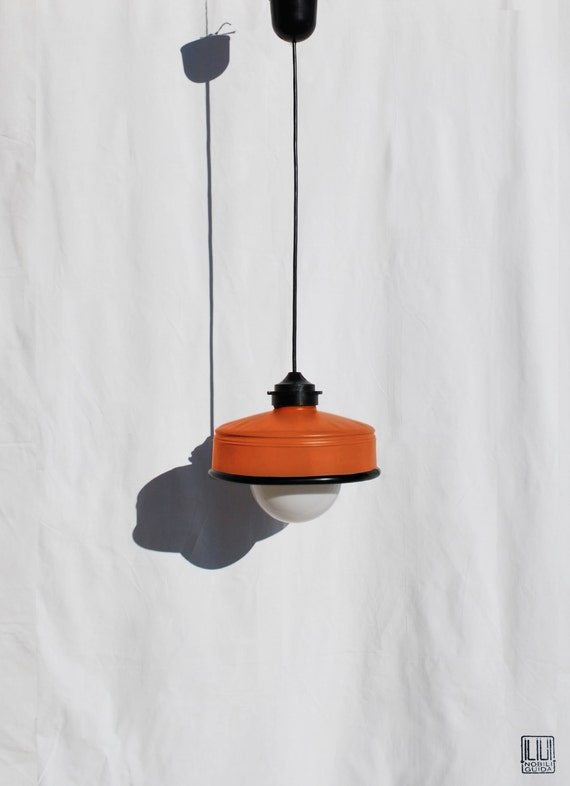 Hanging / pendant / ceiling lamp , orange color ... eco friendly & handmade : recycled from  coffee can ! LED light bulb included