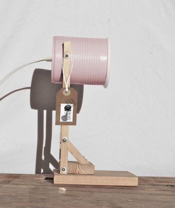 Desk lamp -nightstand lamp, pastel light pink color.. eco friendly: recycled from tomato can! EURO, UK, US or Australia plug- baby girl room