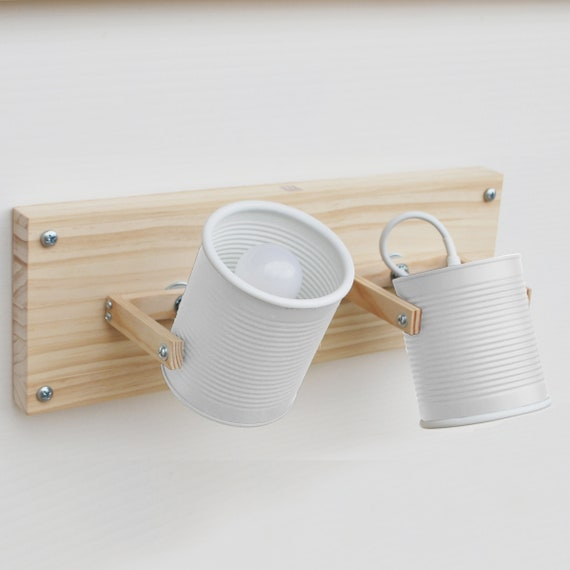 Wall or ceiling lamp /  sconce / fixture light directable, matt white  .....eco friendly and handmade: recycled from tomato can !