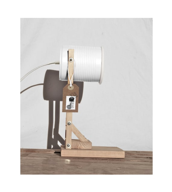 Desk lamp / side bed lamp / table lamp,  matte white color.... eco friendly: recycled from tomato can !!! UK or EURO or US or Australia plug