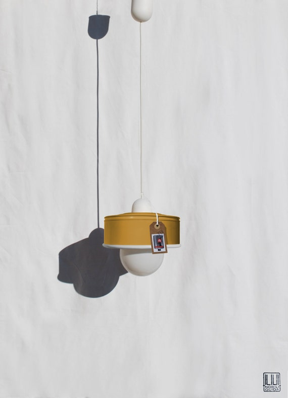 Hanging lamp / pendant light / ceiling lamp mustard ... eco friendly & handmade : recycled from  coffee can ! LED light bulb included