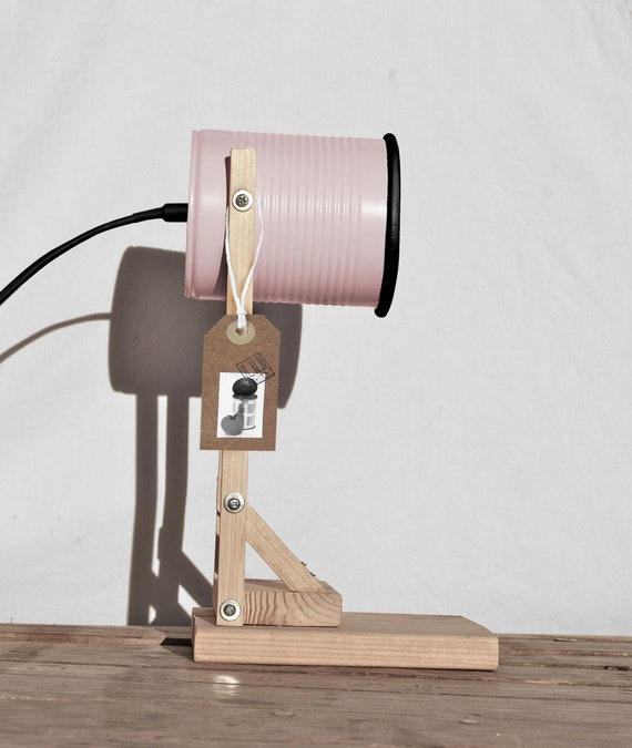 Pastel pink & Black details desk lamp.... eco friendly:  recycled from tomato can !  UK  or US or EURO plug. Led light bulb included.