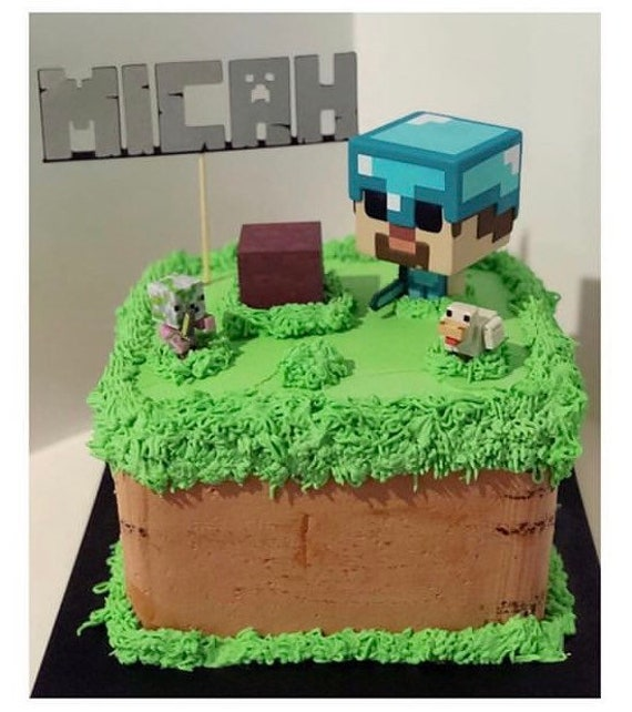Personalised Minecraft Cake Topper Etsy