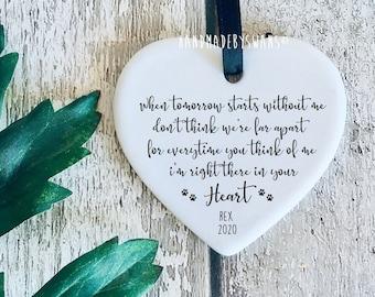 Ceramic hanging heart, pet loss, dog memorial, pet memorial gift, in memory of, special gift, heart keepsake, special gift, bereavement