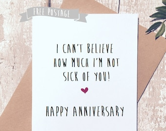 funny greeting Card, funny card, novelty card, humorous card, happy anniversary card, card for wife, card for husband