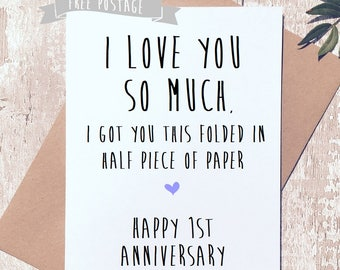 Happy Anniversary card, funny greeting card, first anniversary, 1st anniversary,