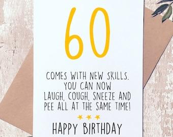 Funny 60th Birthday Card Sixty For Him Her Sixtieth Friend