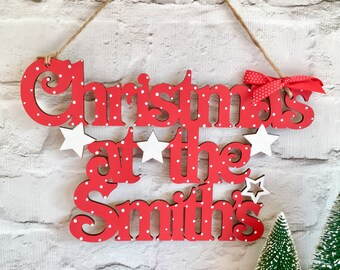 christmas at the signchristmas at the plaque personalised sign wooden sign christmas decoration hanging christmas sign personalised