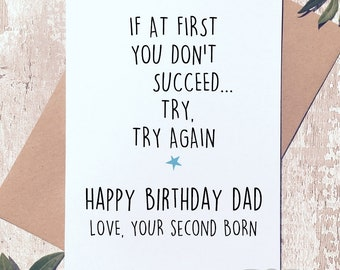 Funny Birthday Card For Dad Him Sibling Second Born Child