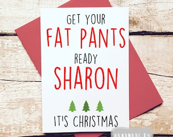Christmas card pack etsy funny christmas card personalised christmas card pack of cards rude christmas card card for friend custom christmas card fat pants m4hsunfo