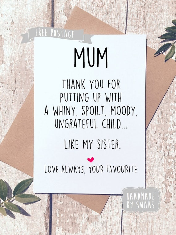Funny Birthday Card For Mum Like My Sister Gift