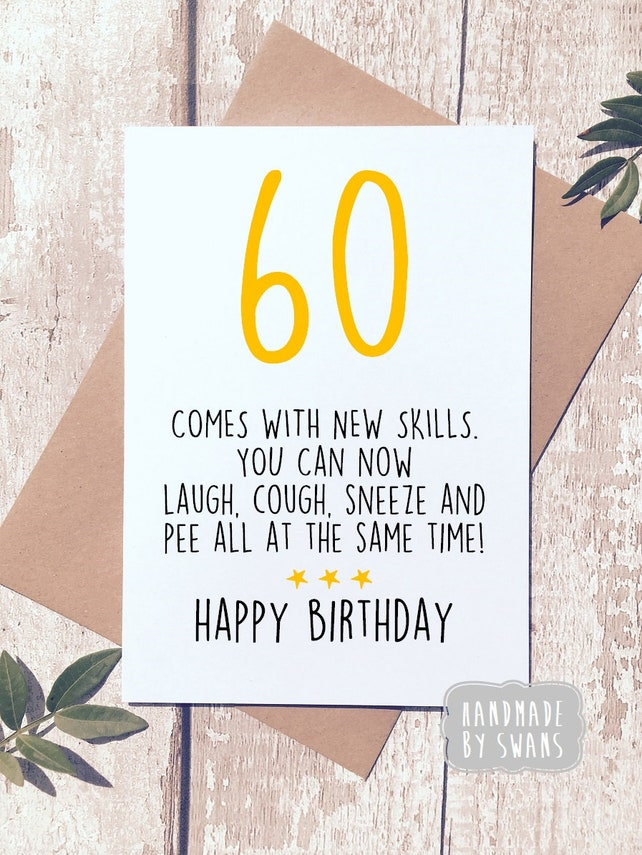 Funny 60th Birthday Card Sixty For Him Her