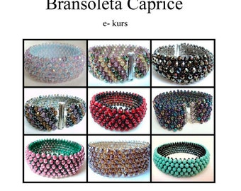 Caprice Bracelet tutorial and a free peyote pattern for bracelet Estera INSTANT DOWNLOAD pdf