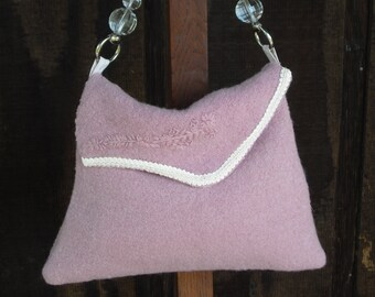 cfc2aeed20 HB02-Felted wool purse in rose and cream---FREE SHIPPING