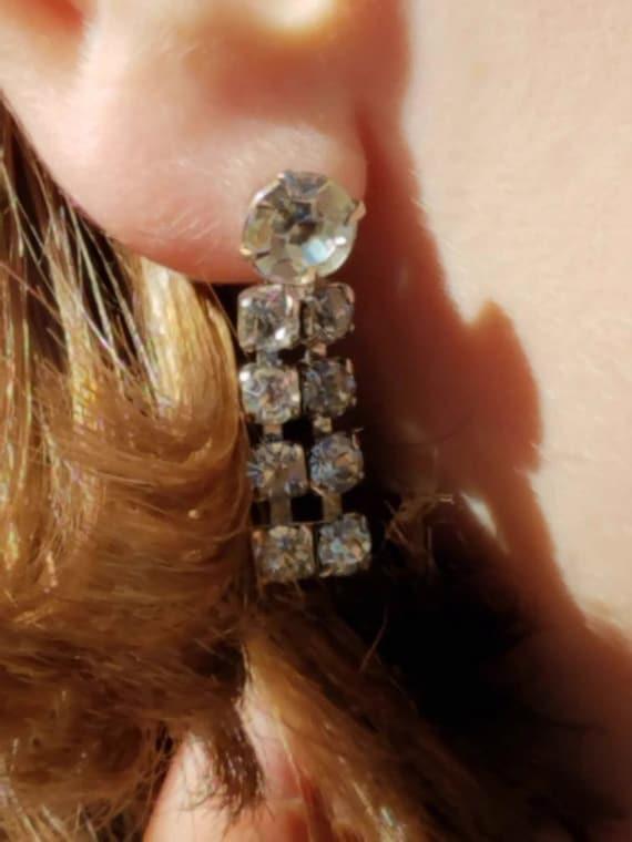 Clip On Earrings, Vintage Rhinestone Clip-on Earr… - image 2