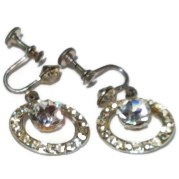 Clip On Earrings, Vintage Rhinestone Clip-on Earri