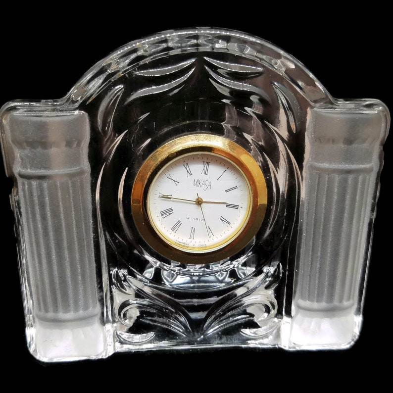 Opulent Vintage Desk Clock Small Lead Crystal Clock Vintage Etsy