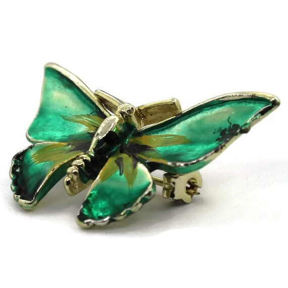 Vintage Goldtone Butterfly Brooch, Green Painted B