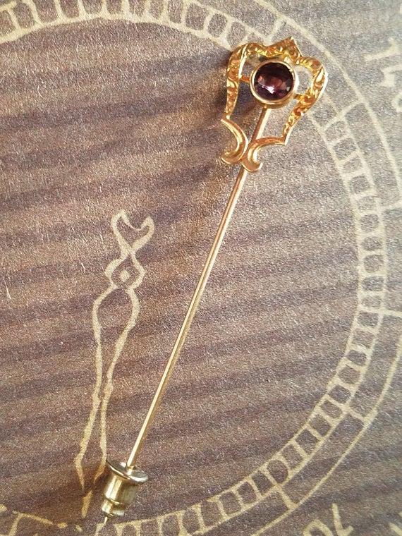 Amethyst Lapel Pin, Amethyst Brooch Pin, Amethyst… - image 7