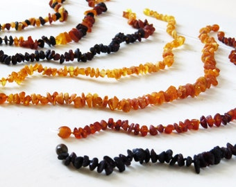 Raw Unpolished Baltic Amber Teething Necklace for Children: Toddler or Baby size