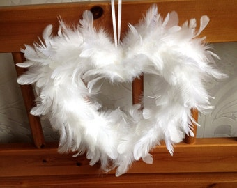 White Feather Heart 10""