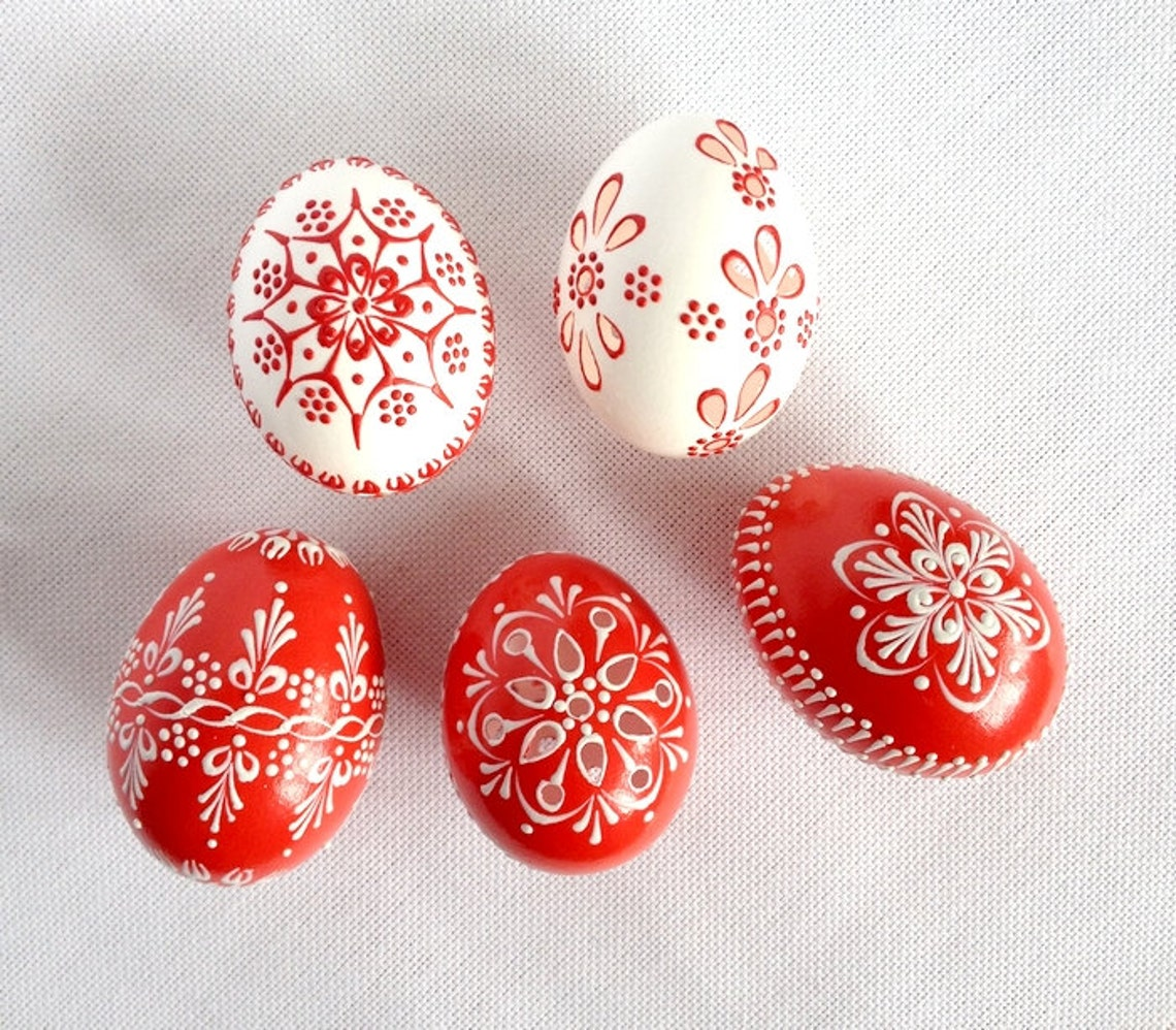 Request a custom order and have something made just for you. This seller usually responds within 24 hours. Set of 5 red white Hand DecoratedPainted Chicken Easter Egg
