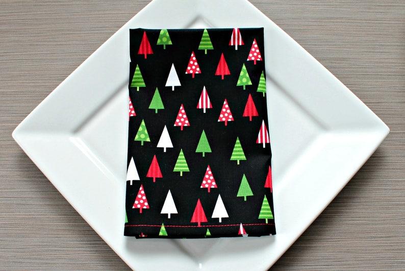Christmas Napkins.Christmas Napkins Cloth Napkins Dinner Napkins Christmas Tree Print Holiday Table Decor Cotton Napkins Set Of 4 Hostess Gift