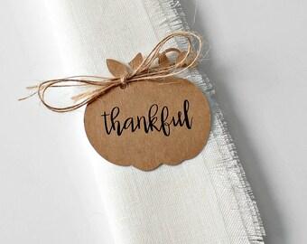 Thanksgiving Napkin Tags, Napkin Rings, Thanksgiving Table Decor, Pumpkin Tags, Set of 8, Rustic Table Decor, Table Decor, Gift Tags