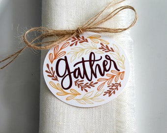 Thanksgiving Napkin Tags, Napkin Rings, Thanksgiving Table Decor, Gather Tags, Set of 8, Rustic Table Decor, Table Decor, Gift Tags