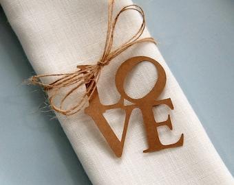 Valentine Napkin Tags, Napkin Rings, Valentine Table Decor, Love Tags, Wedding Favor Tags, Rustic Wedding Decor, Gift Tags, Kraft Love Tags