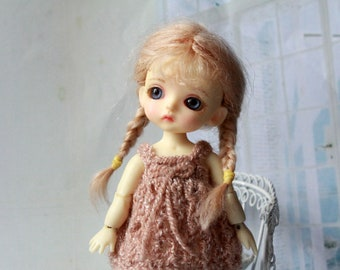 """PREORDER! Pukipuki Lati White wig """"Fawn beige braids"""" /  Pukipuki Wig / Lati White Wig / Lati White SP Wig / 3,8 inch mohair doll wig"""
