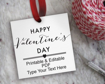 Happy Valentine's Day Tags Printable, Editable Tag Template // Printable Valentine Tag // DIY Digital PDF // 2 inch Square 2x2 Gift Tag