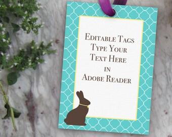 Editable Bunny Tag, Printable Easter Gift Tag // Blank Easter Tag // Chocolate Bunny Tags // 2.5x3.5 ATC DIY Digital PDF Easter Tag Template